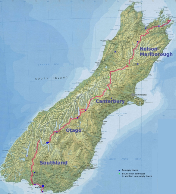Map of South Island showing Te Araroa Trail route