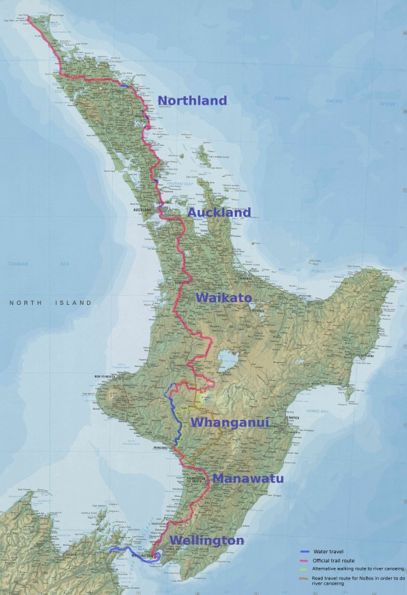 The North Island with the official trail marked and some Whanganui options indicated