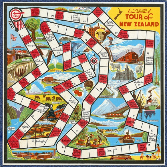 Tour of New Zealand game designed by Dudley Bain, 1950s
