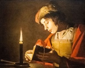 Reading: Matthias Stom, 'A young man reading at candlelight, 1600s, nationalmuseum, Stockholm.