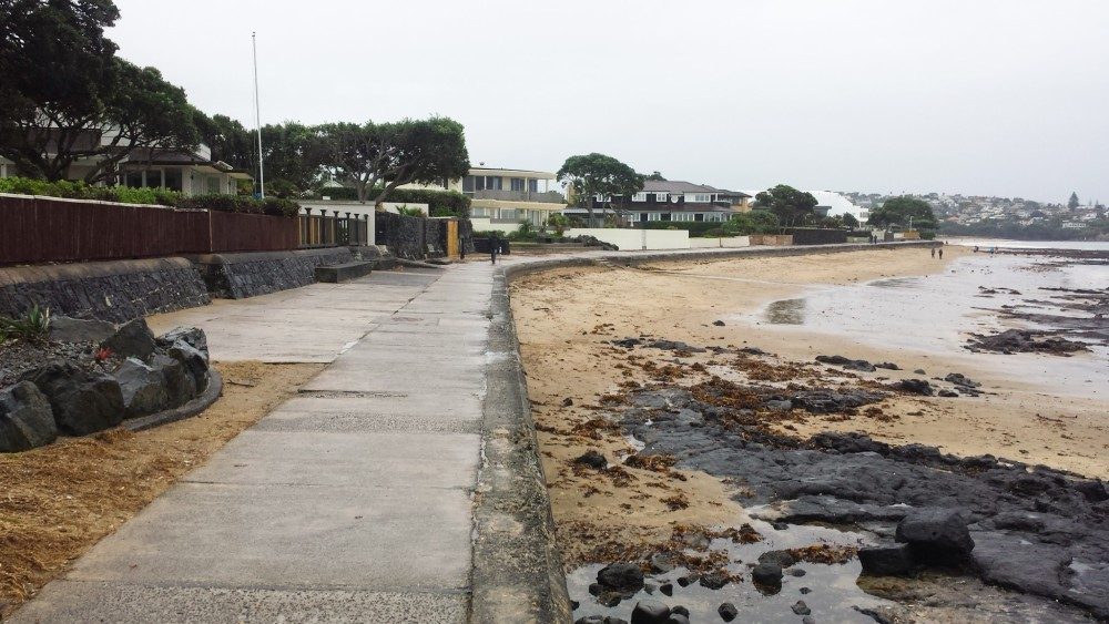 Beach front walkway on a rainy day, Milford, North Shore