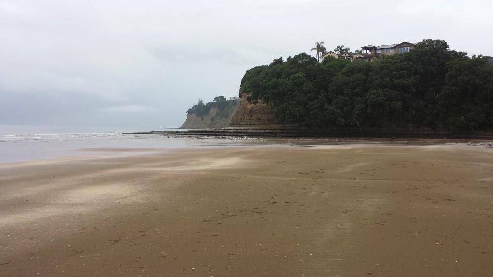 Beach and headland on a rainy day, North Shore